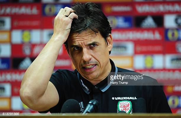 Chris Coleman Manager of Wales addresses the media during a Wales Press Conferenceat the Cardiff City Stadium on October 8 2016 in Cardiff United...