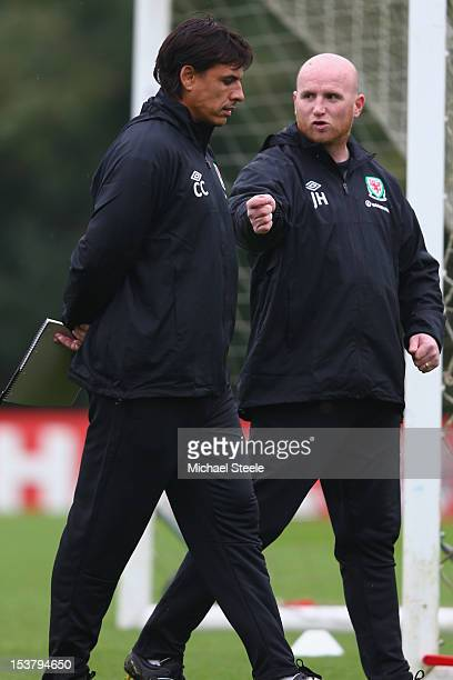 Chris Coleman manager of Wales alongside assistant John Hartson during the Wales training session at the Vale Resort on October 9 2012 in Cardiff...