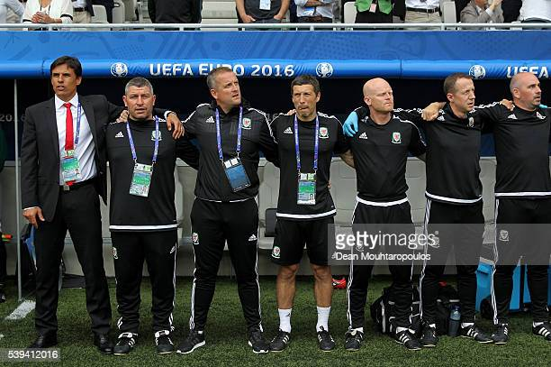 Chris Coleman manager of Wales and team staffs are seen prior to the UEFA EURO 2016 Group B match between Wales and Slovakia at Stade Matmut...