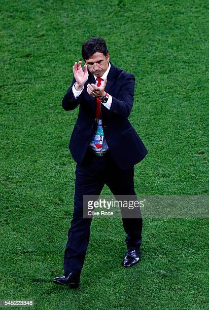 Chris Coleman manager of Wales applauds the fans after the UEFA EURO 2016 semi final match between Portugal and Wales at Stade des Lumieres on July 6...