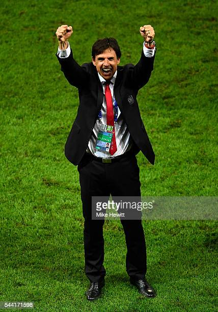 Chris Coleman manager of Wales celebrates his team's 31 win after the UEFA EURO 2016 quarter final match between Wales and Belgium at Stade...