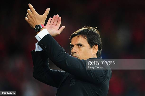 Chris Coleman Manager of Wales during the 2018 FIFA World Cup Qualifier between Wales and Moldova at the Cardiff City Stadium on September 5 2016 in...