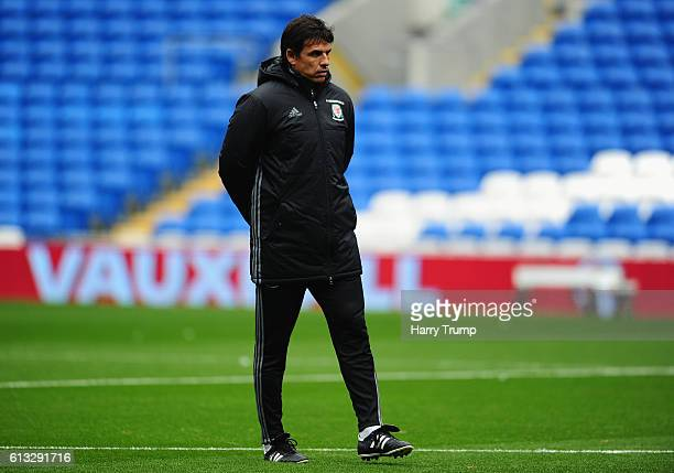 Chris Coleman Manager of Wales looks on during a Wales Training Session at the Cardiff City Stadium on October 8 2016 in Cardiff United Kingdom