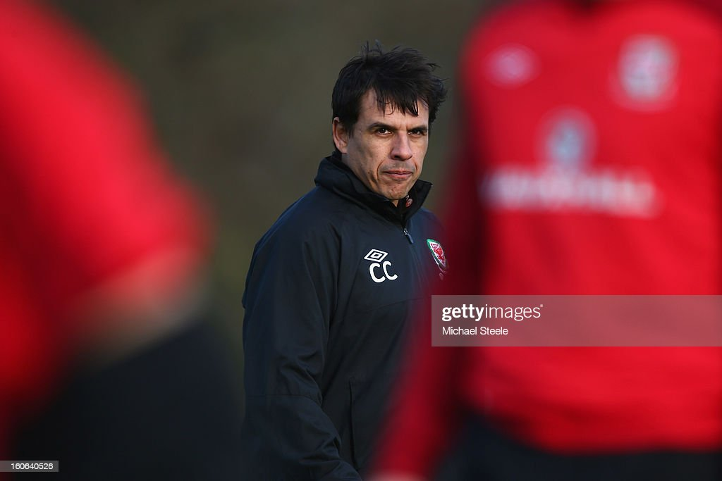Chris Coleman, manager of Wales looks on during the Wales training session at Hensol Castle Park on February 4, 2013 in Cardiff, Wales.