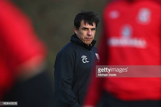 Chris Coleman manager of Wales looks on during the Wales training session at Hensol Castle Park on February 4 2013 in Cardiff Wales