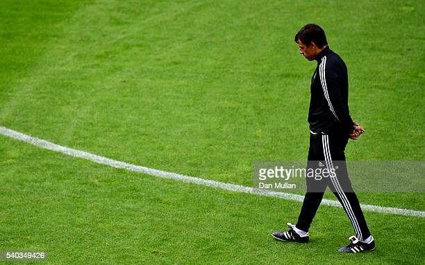 Chris Coleman Manager of Wales looks on during the Wales training session ahead of the UEFA Euro 2016 match against England at Stade BollaertDelelis...
