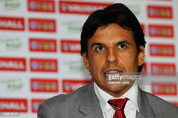 Chris Coleman manager of Wales pictured during the Vauxhall's Road to Brazil Home Nations Managers Press Conference at the HAC on August 24 2012 in...