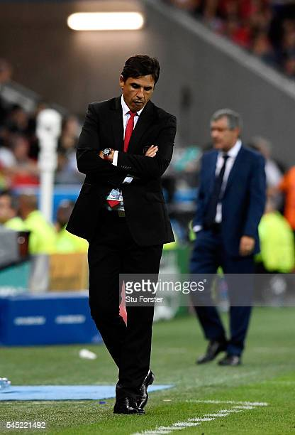 Chris Coleman manager of Wales reacts on the touchline during the UEFA EURO 2016 semi final match between Portugal and Wales at Stade des Lumieres on...