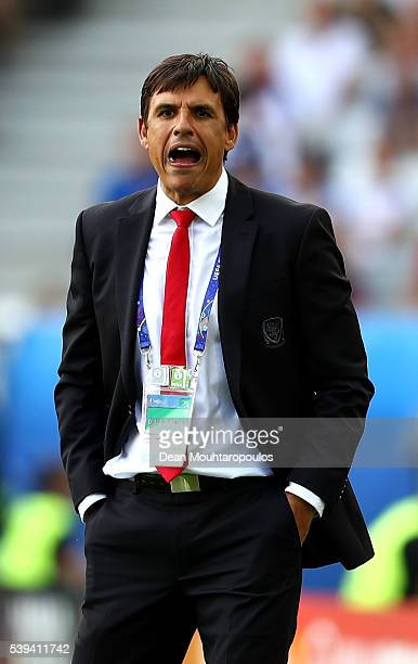 Chris Coleman manager of Wales shouts during the UEFA EURO 2016 Group B match between Wales and Slovakia at Stade Matmut Atlantique on June 11 2016...