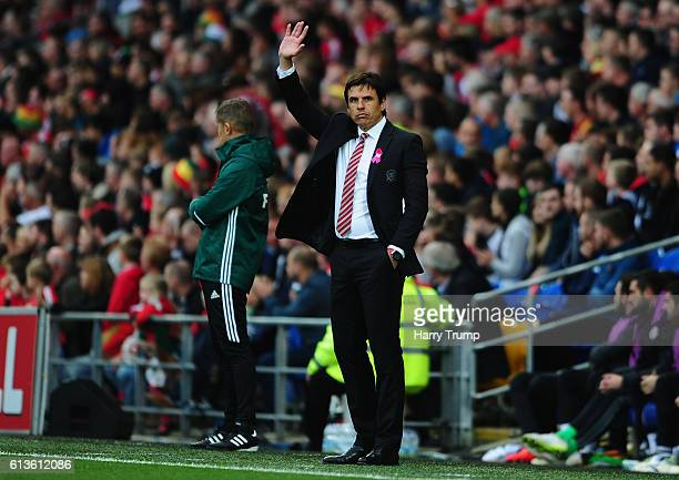 Chris Coleman Manager of Wales waves during the 2018 FIFA World Cup Qualifier between Wales and Georgia at the Cardiff City Stadium on October 9 2016...