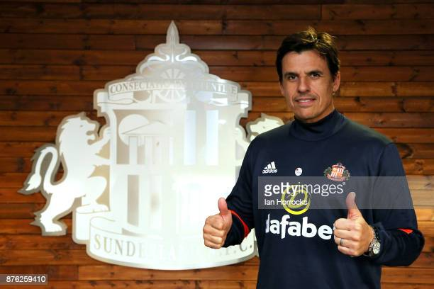 Chris Coleman shows support for the campaign 'For Bradley' after being named as the new Sunderland manager at The Academy of Light on November 19...