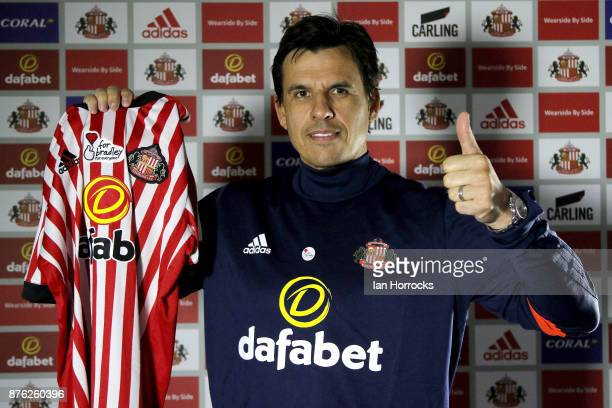 Chris Coleman shows support for the campaign For Bradley after being named as the new Sunderland manager at The Academy of Light on November 19 2017...