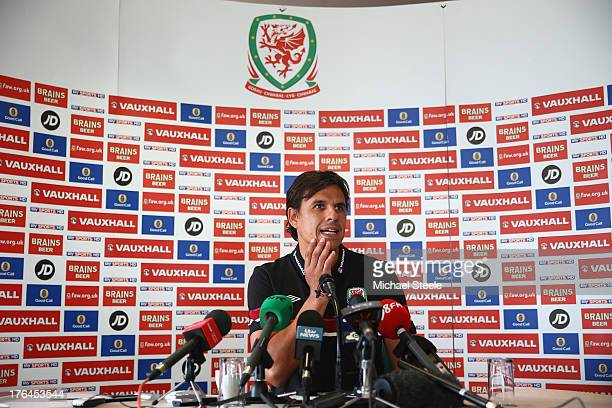 Chris Coleman the manager of Wales addresses the media during a press conference on August 13 2013 in Cardiff Wales