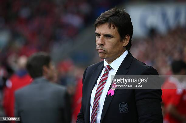 Chris Coleman the manager of Wales during the FIFA 2018 World Cup Qualifier between Wales and Georgia at Cardiff City Stadium on October 9 2016 in...