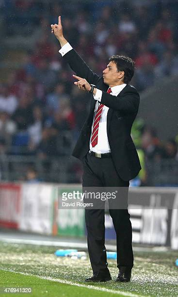 Chris Coleman the Wales manager issues instructions during the UEFA EURO 2016 qualifying match between Wales and Belgium at the Cardiff City Stadium...