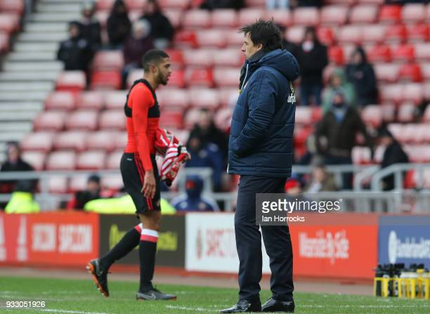 Chris Coleman watches on as Jake ClarkeSalter walks off after being sent off during the Sky Bet Championship match between Sunderland and Preston...