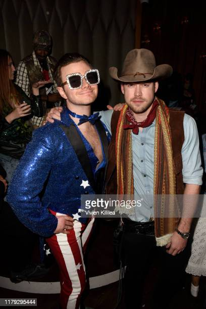 Chris Colfer and Chord Overstreet attend Podwall Entertainment's 10th Annual Halloween Party presented by Maker's Mark on October 31 2019 in West...