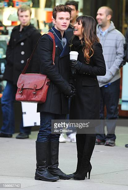 Chris Colfer and Lea Michele are seen on the set of Glee on the streetss of Manhattan on November 18 2012 in New York City