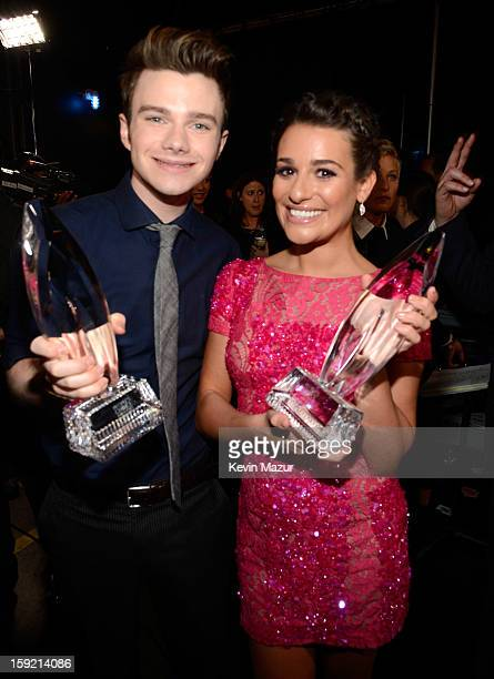 Chris Colfer and Lea Michele backstage during 2013 People's Choice Awards at Nokia Theatre LA Live on January 9 2013 in Los Angeles California