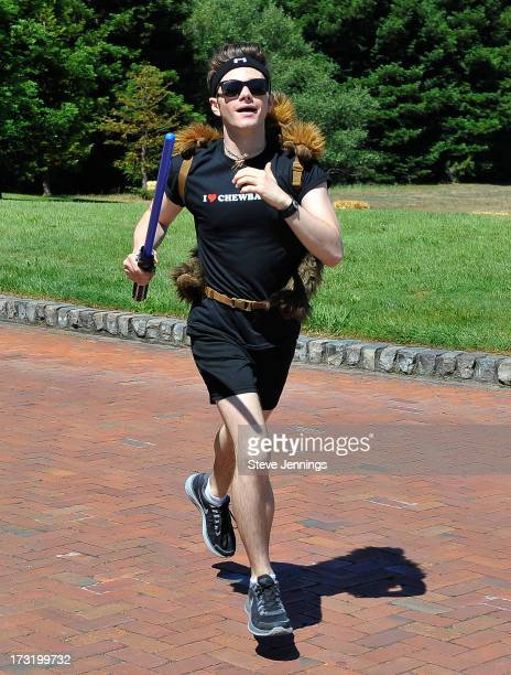 Chris Colfer races at the Course Of The Force 2013 An Epic Lightsaber Relay Benefiting MakeAWish Foundation at Skywalker Ranch on July 9 2013 in San...
