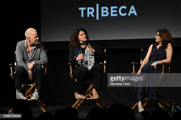 Chris Collins Lydia Tenaglia and Sandy Zweig speak onstage at the 'Anthony Bourdain Parts Unknown' Season 12 Premiere panel during the 2018 Tribeca...