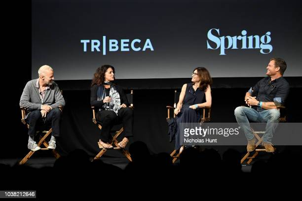 Chris Collins Lydia Tenaglia Sandy Zweig and Morgan Fallon speak onstage at the 'Anthony Bourdain Parts Unknown' Season 12 Premiere panel during the...