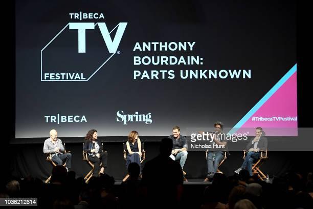 Chris Collins Lydia Tenaglia Sandy Zweig Morgan Fallon and W Kamau Bell speak onstage at the 'Anthony Bourdain Parts Unknown' Season 12 Premiere...