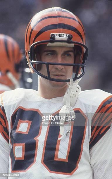 Chris Collinsworth of the Cincinnati Bengals circa 1982 against the Philadelphia Eagles at Veterans Stadium in Philadelphia Pennsylvania