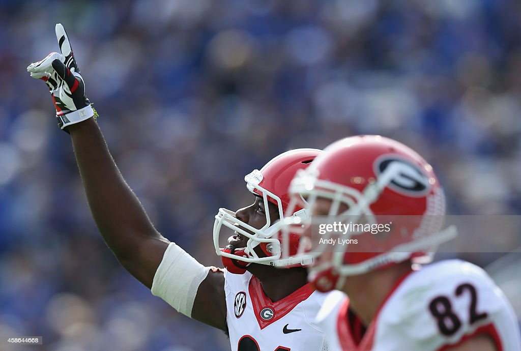 Chris Conley #31 of the Georgia Bulldogs celebrates after scoring a touchdown during the game against the Kentucky Wildcats at Commonwealth Stadium on November 8, 2014 in Lexington, Kentucky.