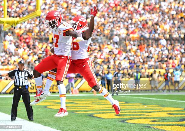 Chris Conley of the Kansas City Chiefs celebrates with Damien Williams after a 15 yard touchdown reception in the first quarter during the game...