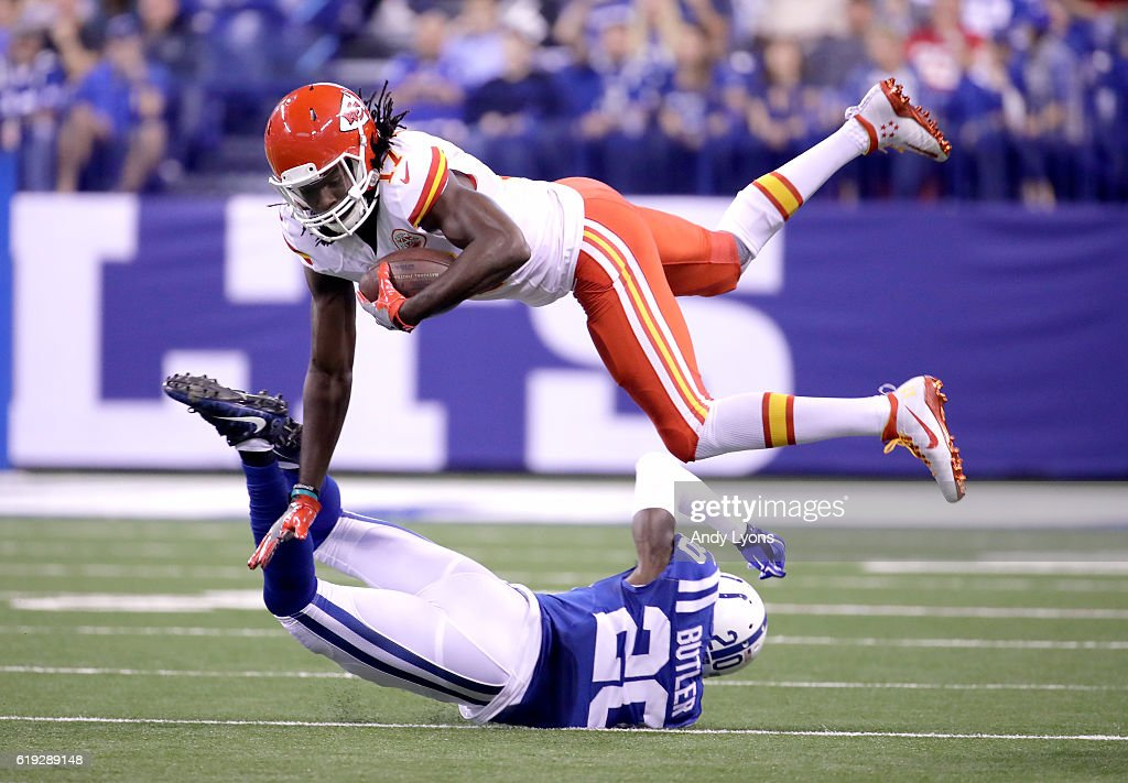 Chris Conley #17 of the Kansas City Chiefs is tackled by Darius Butler #20 of the Indianapolis Colts during the game at Lucas Oil Stadium on October 30, 2016 in Indianapolis, Indiana.