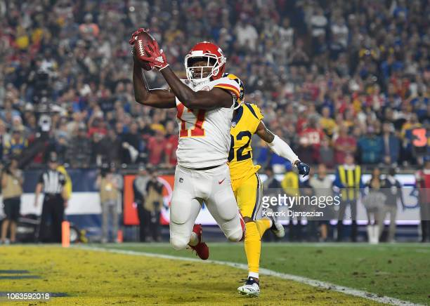 Chris Conley of the Kansas City Chiefs makes a touchdown catch during the second quarter of the game against the Los Angeles Rams at Los Angeles...