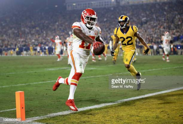 Chris Conley of the Kansas City Chiefs scores a touchdown during the fourth quarter of the game against the Los Angeles Rams at Los Angeles Memorial...