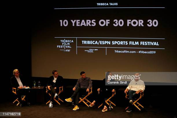 Chris Connelly, Connor Schell, Ezra Edelman, Marina Zenovich and Alex Gibney attend the Tribeca Talks: 10 Years Of 30 For 30 at SVA Theater on May...