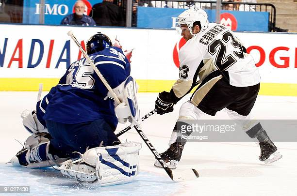 Chris Conner of the Pittsburgh Penguins scores on goalie Vesa Toskala of the Toronto Maple Leafs during a preseason NHL game at the Air Canada Centre...