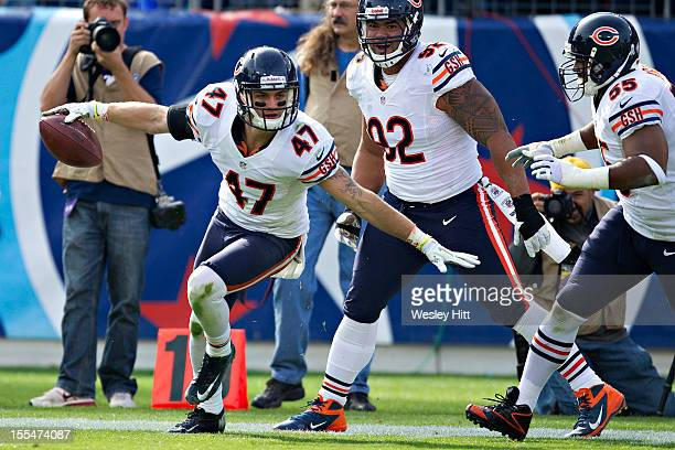 Chris Conte of the Chicago Bears celebrates after recovering a fumble against the Tennessee Titans at LP Field on November 4 2012 in Nashville...