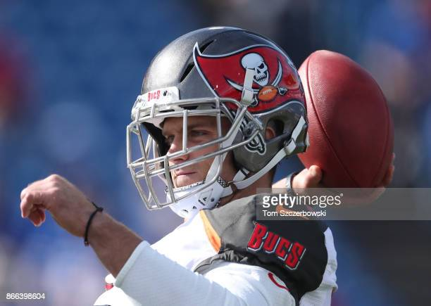 Chris Conte of the Tampa Bay Buccaneers warms up before the start of NFL game action against the Buffalo Bills at New Era Field on October 22 2017 in...