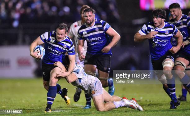 Chris Cook of Bath drives forward with the ball during the Gallagher Premiership Rugby match between Bath Rugby and Exeter Chiefs at Recreation...