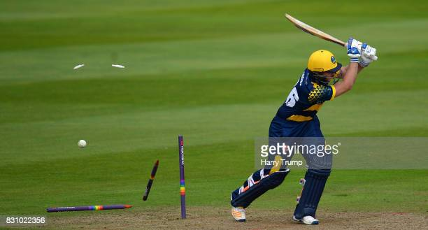 Chris Cooke of Glamorgan is bowled during the NatWest T20 Blast match between Somerset and Glamorgan at The Cooper Associates County Ground on August...