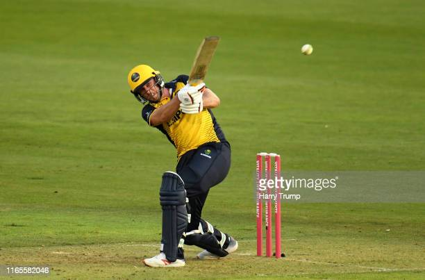 Chris Cooke of Glamorgan plays a shot during the Vitality Blast match between Glamorgan and Gloucestershire at Sophia Gardens on August 01, 2019 in...