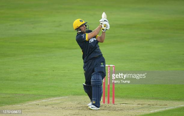 Chris Cooke of Glamorgan plays a shot during the Vitality Blast match between Somerset and Glamorgan at The Cooper Associates County Ground on...