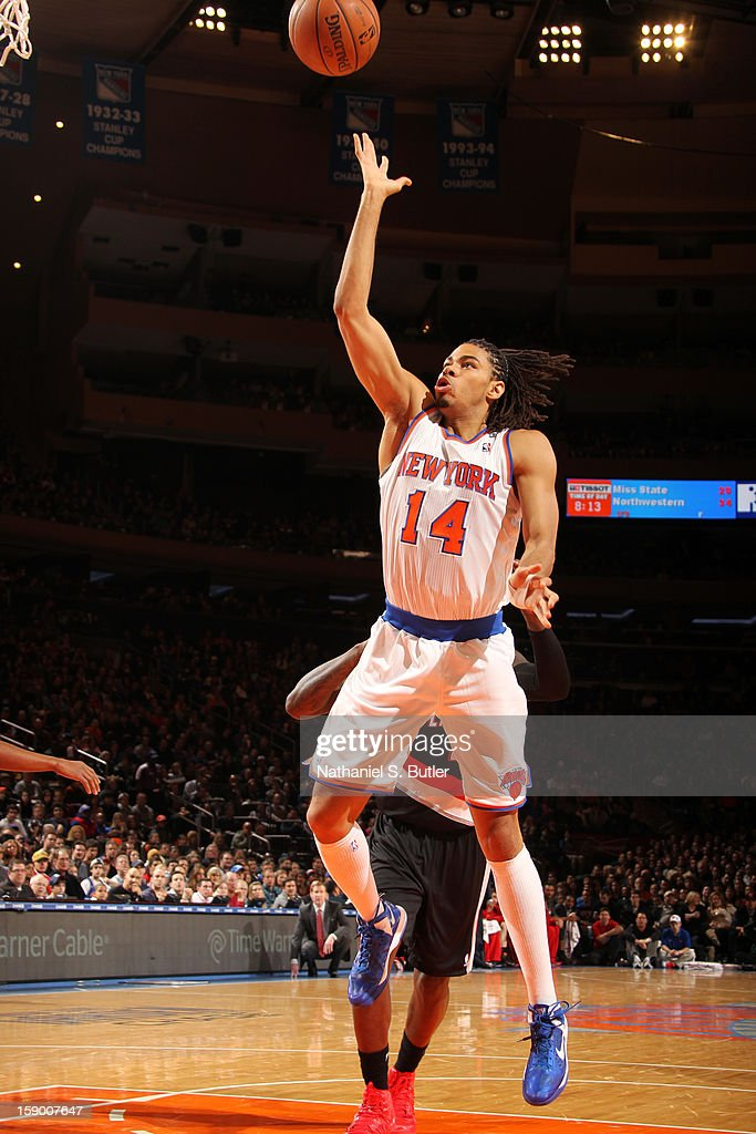 Chris Copeland #14 of the New York Knicks drives to the basket against the Portland Trail Blazers on January 1, 2013 at Madison Square Garden in New York City.