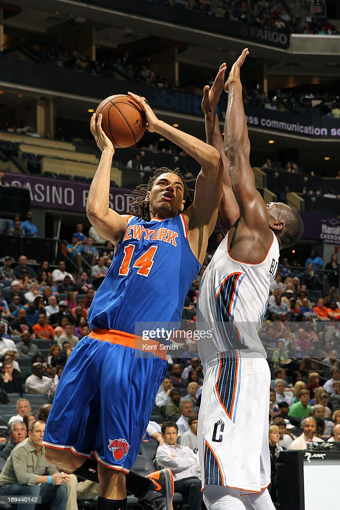 Chris Copeland #14 of the New York Knicks goes up for the layup against the Charlotte Bobcats at the Time Warner Cable Arena on April 15, 2013 in Charlotte, North Carolina.