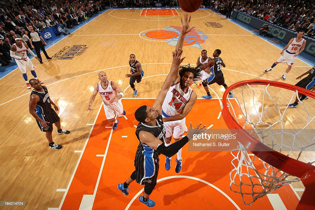 Chris Copeland #14 of the New York Knicks shoots against Tobias Harris #12 of the Orlando Magic on March 20, 2013 at Madison Square Garden in New York City.