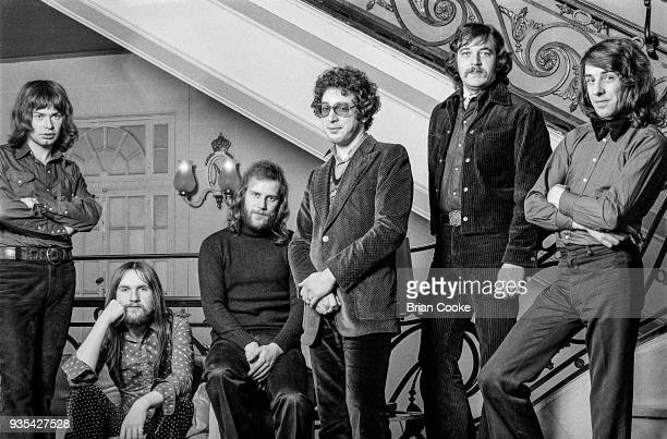 Chris Copping Mick Grabham Alan Cartwright Keith Reid Garry Brooker and BJ Wilson of Procol Harum photographed at The Theatre Royal in London's...