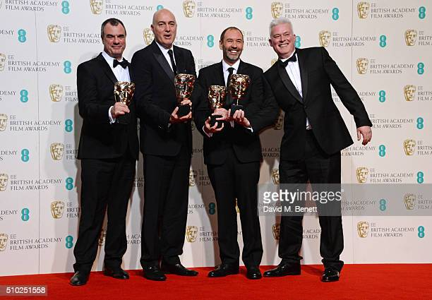 Chris Corbould Roger Guyett Paul Kavanagh and Neal Scanlan winners of the Visual Effects award for Star Wars The Force Awakens pose in the winners...