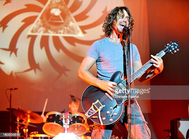 Chris Cornell and Matt Cameron of Soundgarden perform a sold out show at Manchester Apollo on September 13 2013 in Manchester England