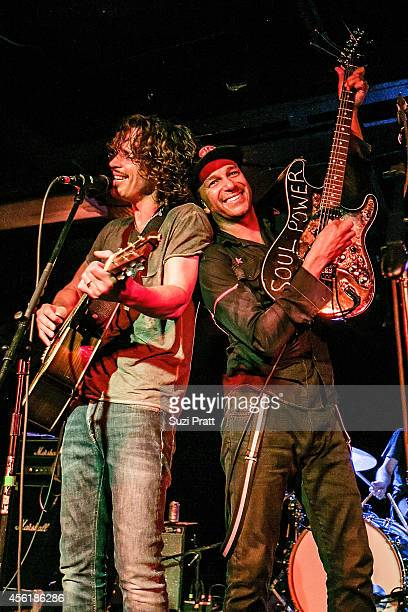 Chris Cornell and Tom Morello perform together for the 15 Now Benefit Show at El Corazn on September 26 2014 in Seattle Washington
