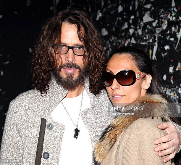 Chris Cornell and Vicky Karayiannis attend Back To Black Friday at Vintage Vinyl on November 26 2011 in Fords New Jersey