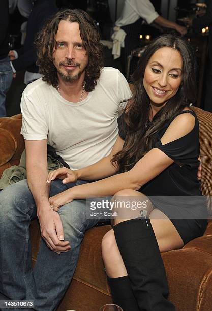 Chris Cornell and Vicky Karayiannis attend 'Commando The Autobiography of Johnny Ramone' launch party hosted by Linda Ramone on April 27 2012 in West...